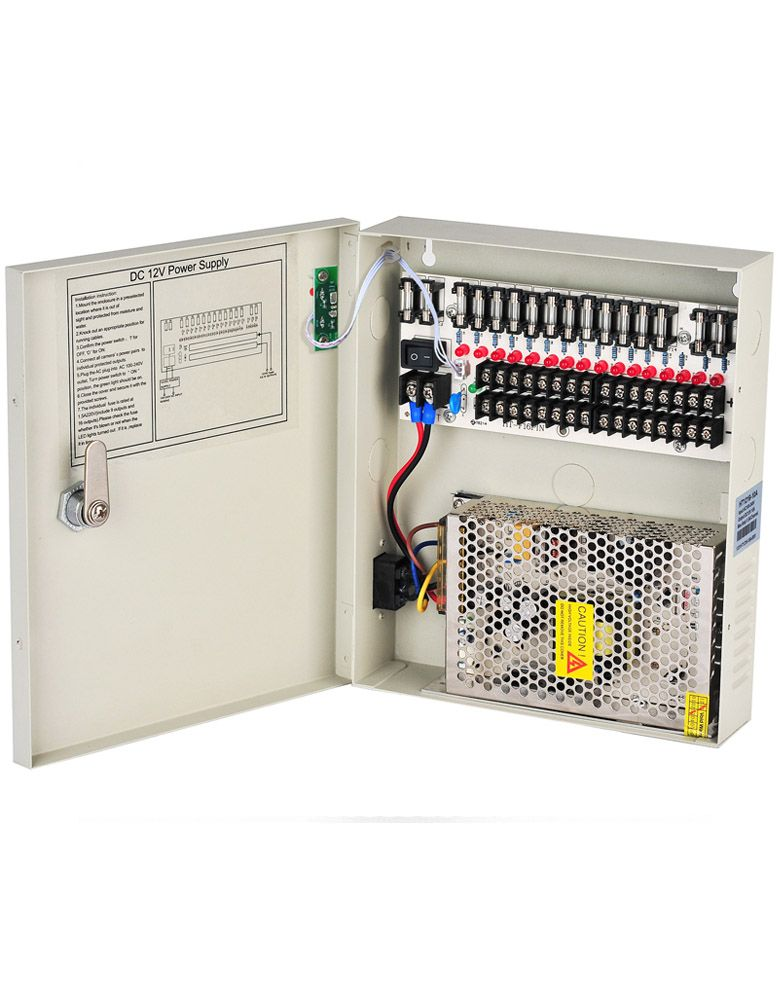 12V DC 10A 16 Channels CCTV Power Supply Box For Security Cameras