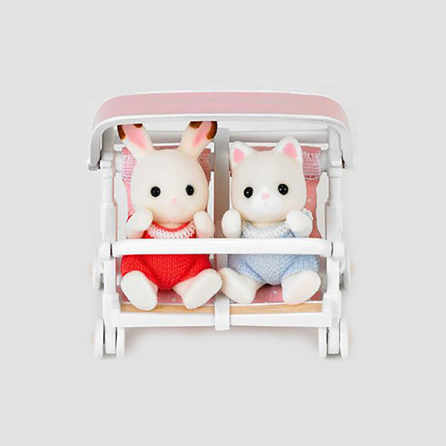 Us 21 29 1 12 Miniature Dollhouse Furniture Sylvanian Families Double Baby Doll Stroller Baby Figure Car Without Dolls Toys For Children In