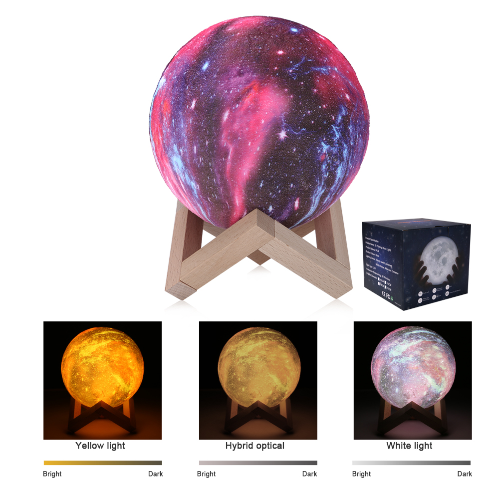 16 Colors 3D Printing Starry Sky Galaxy Light Moon Lamp With Remote Control Built In Rechargeable Battery Night Lamp Kids Gift