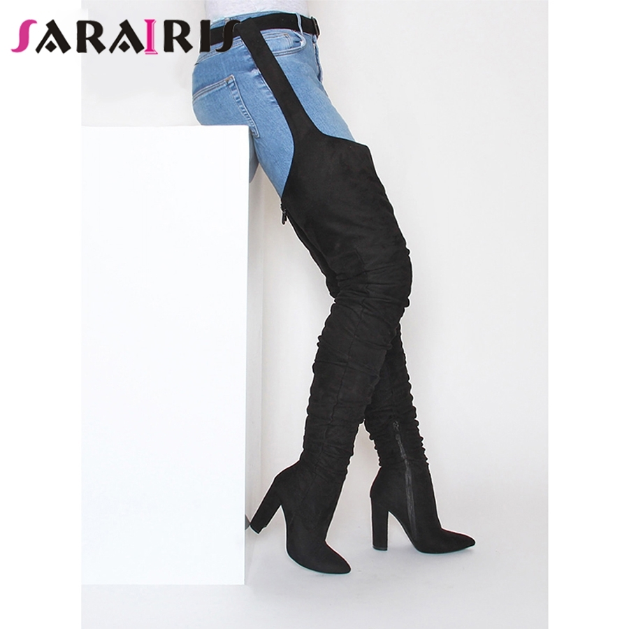 SARAIRIS Rihanna Style Over The Knee Boots For Women Shoes Pointed Toe Pleated Suede High Heels Long Thigh High Boots Black Sexy-in Over-the-Knee Boots from Shoes    1