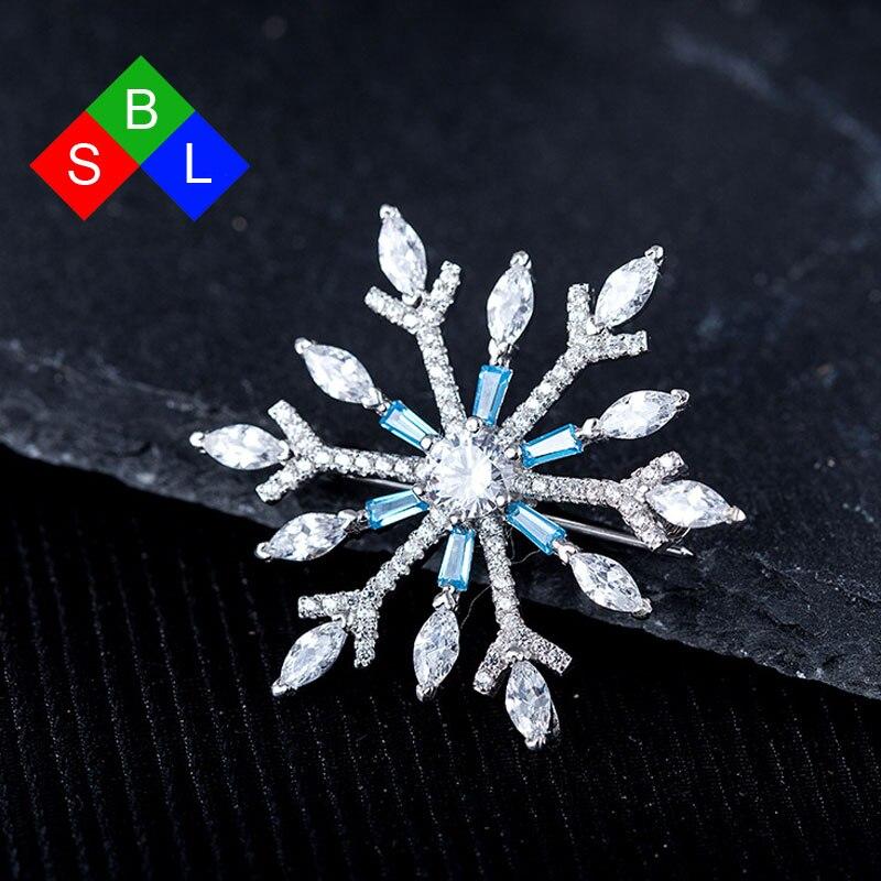 BSL Fine Jewelry Fashion Trendy Luxury Zirconia 925 Sterling Silver Brooch For Women Snowflake Shape