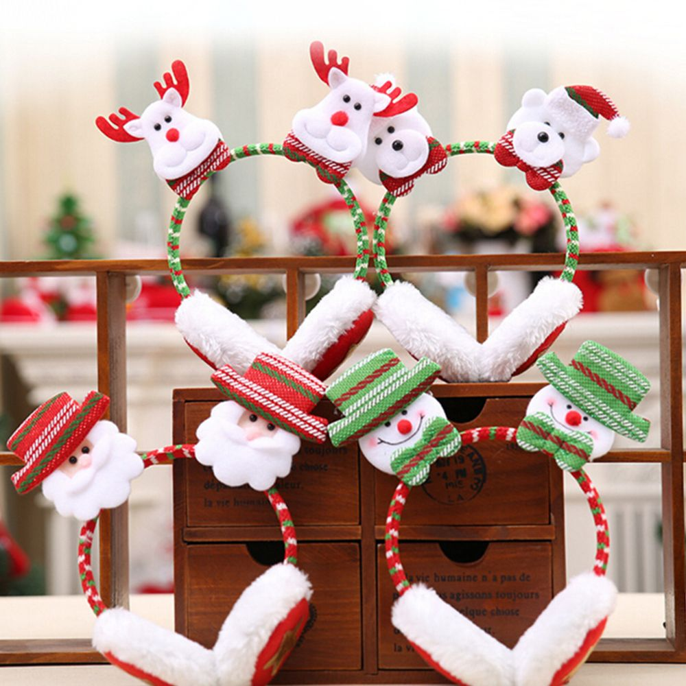 1pcs Fashion Christmas Snowman Headwear Earmuffs Santa Claus Adult Children Warm Hair Bands Ear Clip Child Earmuffs Gift