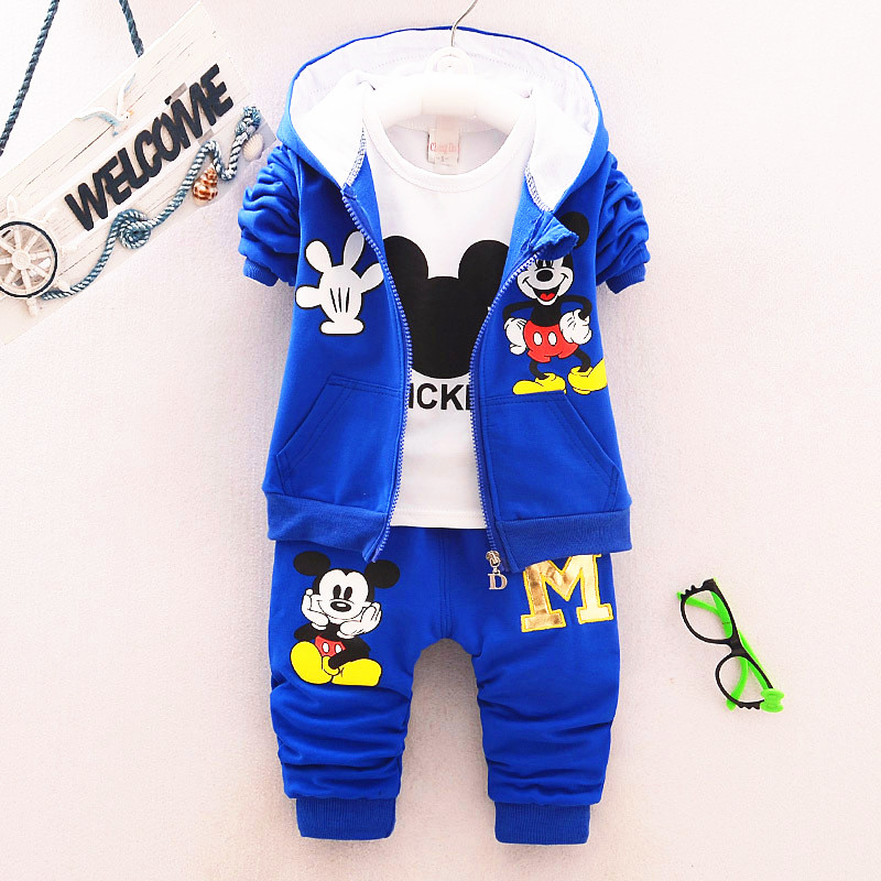 2017 1-4T New Chidren Kids Boys Clothing Set Autumn Winter 3 Piece Sets Hooded Coat Suits Fall Cotton Baby Boys Clothes Mickey