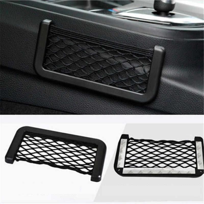 Evrensel araba saklama çantası elastik esnek Mesh arka kargo kamyon depolama organizatör Net SUV iç aksesuarları cep