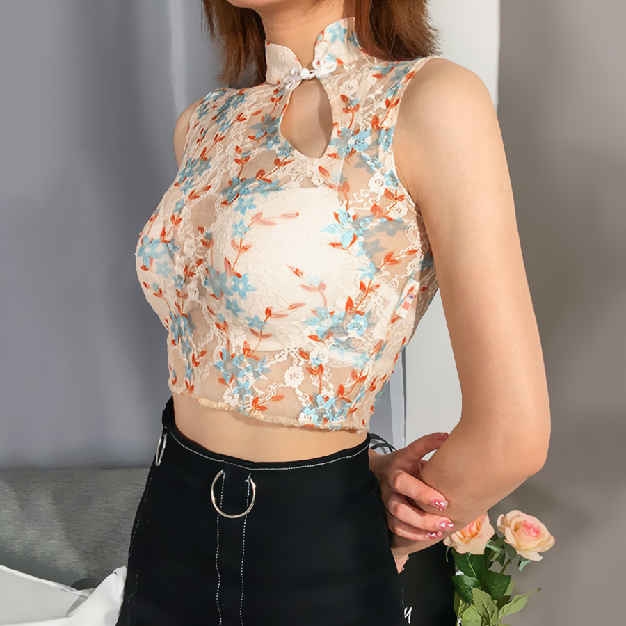 2019 Top Tees Chinese Style Clothing For <font><b>Women</b></font> <font><b>39</b></font> <font><b>S</b></font> T Shirt Sleeveless Floral Embroidery T-shirt Vintage <font><b>Tshirt</b></font> Woman Clothes image