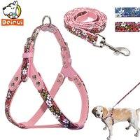 Bloemenprint Harnas Hond Aangelijnd Set PU Leer Stap In Gevoerde kraag Harnas Vest voor Kleine Medium Honden Huisdieren Pitbull Rood Blauw