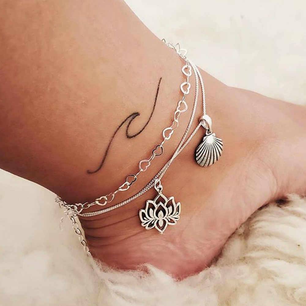 Popular European and American cross-border bohemian alloy lotus shell multi-layer chain ankle anklet foot footrest retro anklet