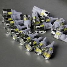 100 шт./лот T10 5630smd 6 samsung светодиодный Яркий Автомобильный светодиодный светильник с алюминиевой крышкой и линзой