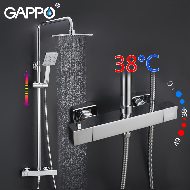 GAPPO shower faucet bath tap mixer rainfall shower set thermostatic bathroom mixer tap wall mount shower