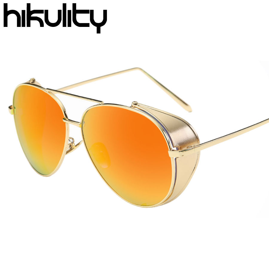 Side Protection Vintage Steampunk Sunglasses Men Luxury Brand Punk Mirror Sun Glasses for Men Oculos Male Sunglasses