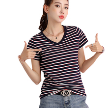 shintimes Striped T-Shirt Female Basic V Neck T Shirt Women Clothes 2019 Cotton Blue Woman Summer Tops Casual White Tshirt Femme