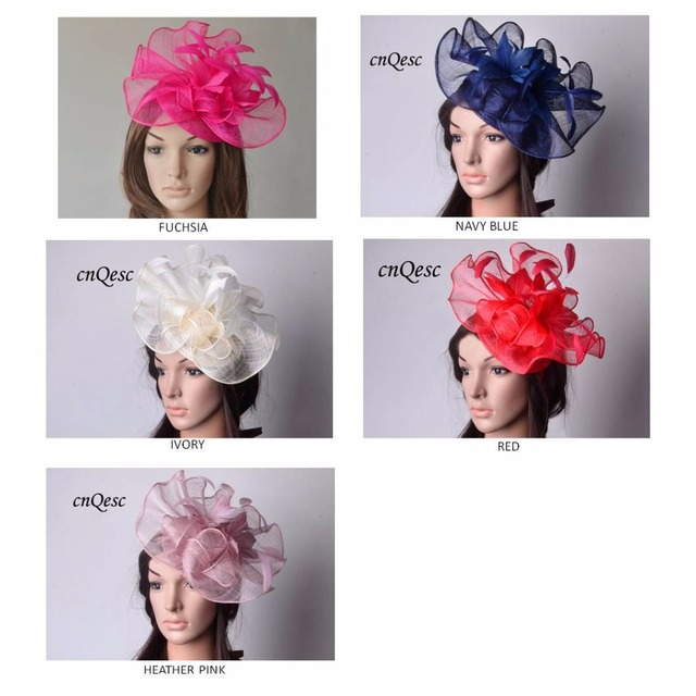 7531527b01a7d NEW elegant Sinamay fascinator hat with feather flowers for kentucky derby