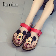 2016 New Style Cork Women's Summer Shoes Flat With Sandals Female Slippers Mickey Cartoon Casual Wear Non-Slip Beach Flip Flops