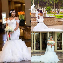 African Plus Size Wedding Dresses Spaghetti Straps Lace Appliques Beadding Capped Mermaid Wedding Dress Tiered Tulle Bridal gown