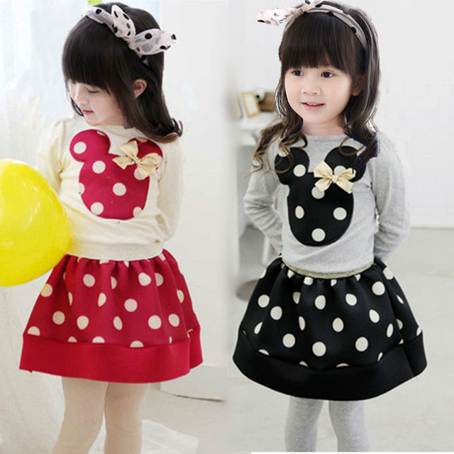 2016 Nueva llegada Del Otoño Del resorte muchachas de La Camiseta + falda 2 unids ropa Minnie Mouse dot Princesa vestido de traje de los niños