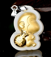 Natural White Hetian Jade + 18K Solid Gold Inlaid Carved Monkey Lucky Pendant + Rope Necklace Fine Jewelry + Certificate