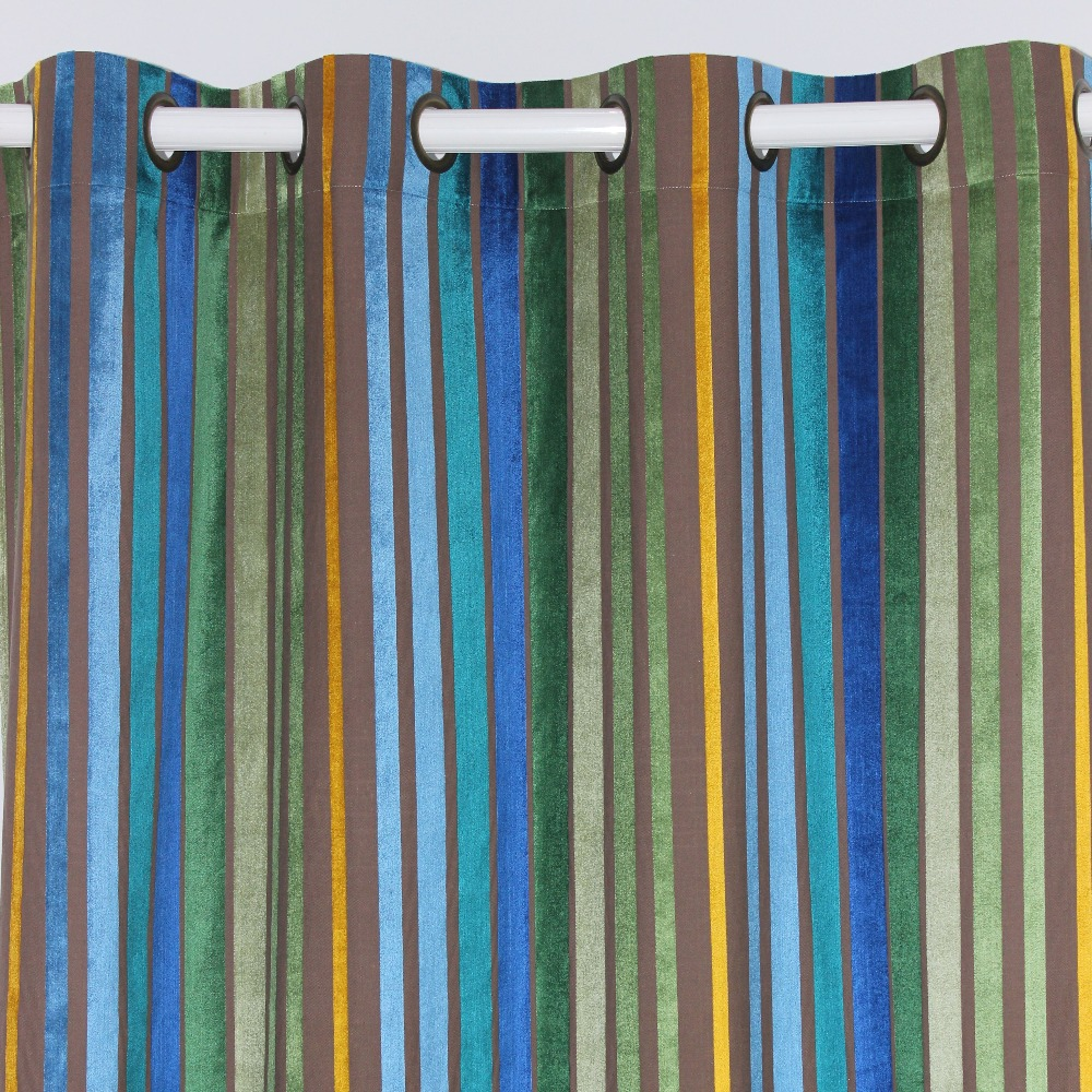 VEZO HOME Multi Stripes Velvet Window Treatment Curtains Panel Door Curtain  Bedroom Living Room Home Decorative