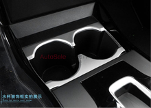For Honda City 2014 2015 2016 ABS plastic Chrome Bright Console Interior Water Cup Holder Cover Trim 1pcs