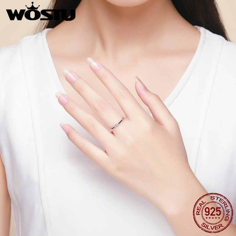 WOSTU HOT ขายจริง 925 เงินสเตอร์ลิงหัวใจ CZ แหวนแฟชั่นผู้หญิงแหวน Anel เครื่องประดับของขวัญ CQR450