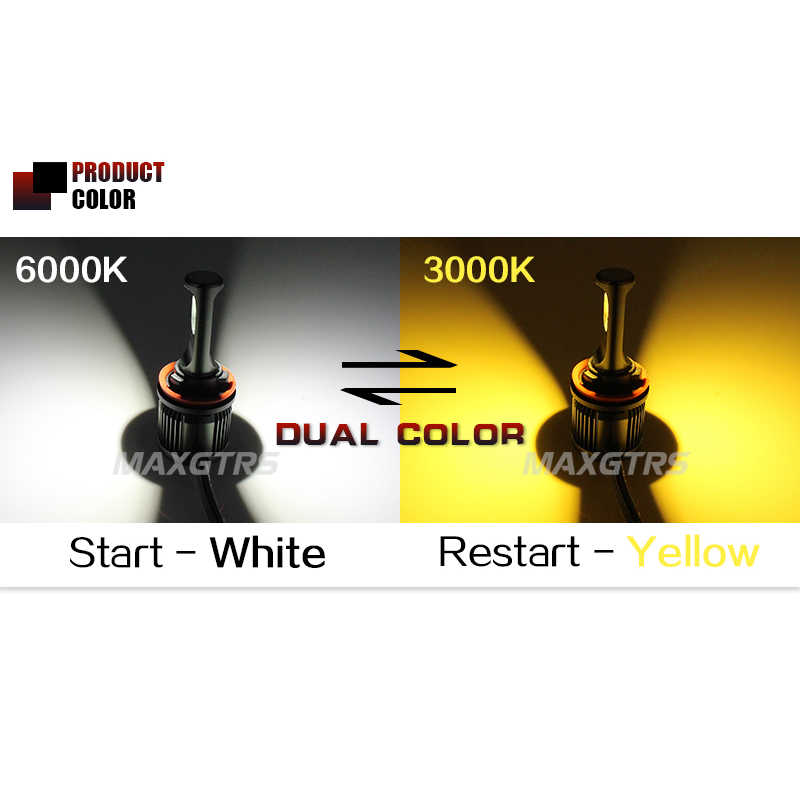 2x  Double Color Car Led Fog Headlight Bulb H8 H11 H7 9005 9006 HB3 HB4 3000K 6000K Auto Lamp DRL Daytime Running Light