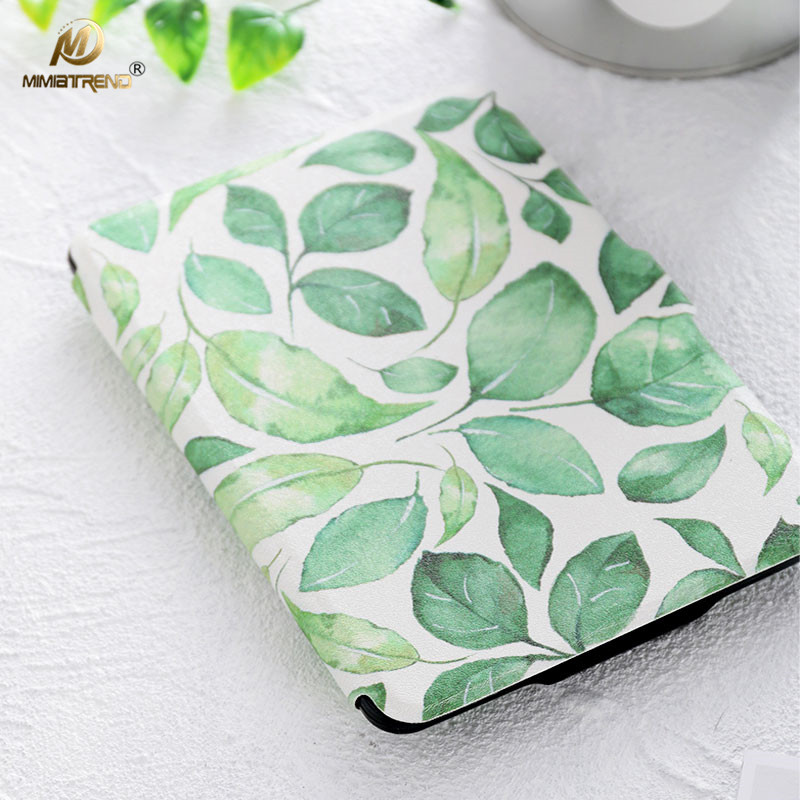 Mimiatrend 2017 New Leaf PU Cover for Amazon Kindle Paperwhite 1 2 3 449 558 voyage Case 6 inch Ebook Tablet Accessories slim nylon sleeve pouch case for kindle paperwhite 123 voyage 7th 8th gen pocketbook 622 623 e reader sleeve case 6