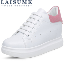 2019 LAISUMK Women Vulcanize Shoes Platform Creepers Suede Leather Tenis Feminino Ladies Casual Footwear