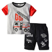 Boys Summer Clothes Pure Cotton Car Printed Patterns Home Suit Childrens Round-collar Short-sleeved Nightwear