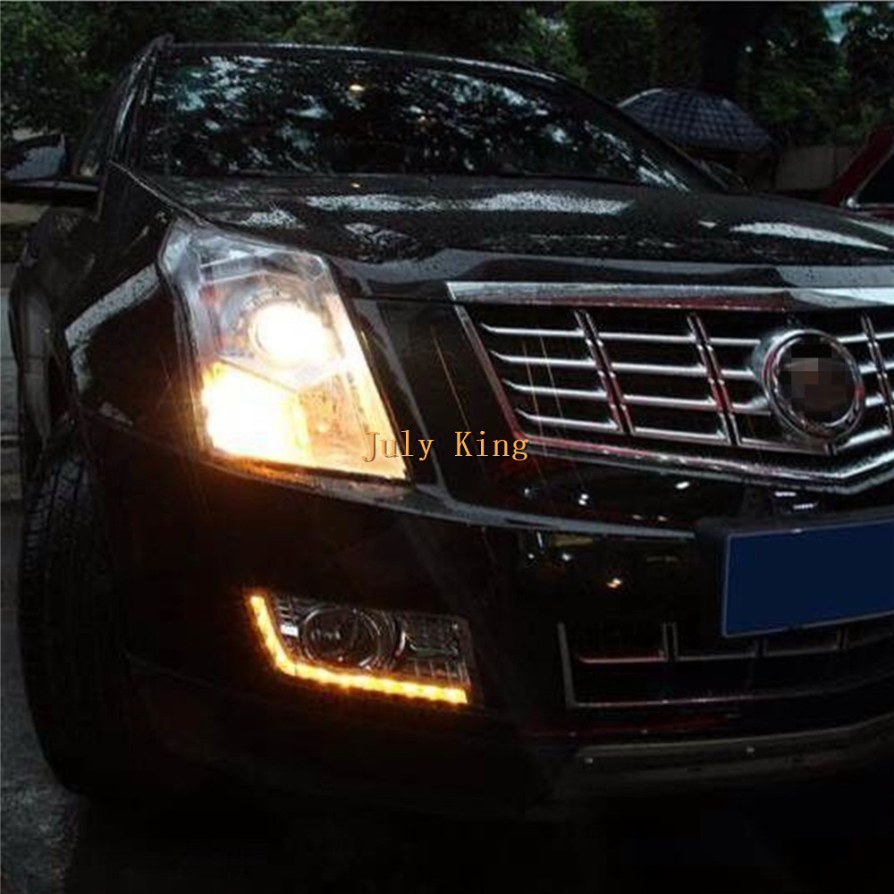 July King LED Daytime Running Lights Yellow Turn Signals Case For Cadillac SRX 2010~ON, LED DRL With Electroplate Fog Lamp Cover