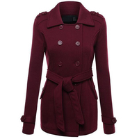 Autumn Winter Women Wool Blends Solid Color Long Sleeve Turn Down Collar Double Breasted Wool Coat