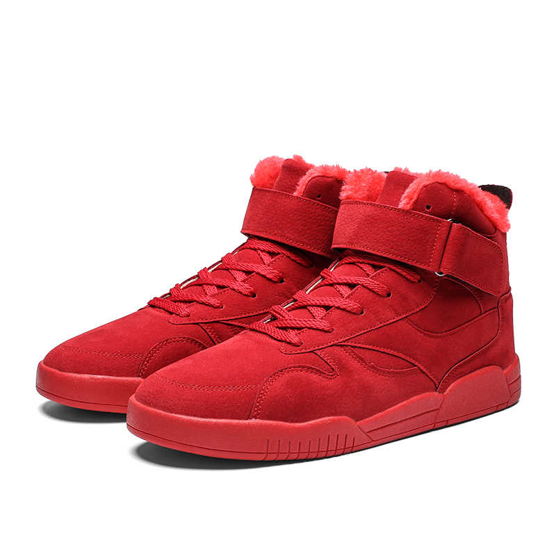 LINGGE ผู้ชายสบายๆฤดูหนาว Plush Lace Up ข้อเท้ารองเท้าบูทชาย Super Warm หัวเข็มขัดหิมะรองเท้าแบนรองเท้าของแข็งสำหรับชาย