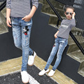 Children Denim Pants 2017 Girl Casual Cartoon Ripped Mickey Jeans