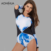 AONIHUA 2018 New Design Rash Guards Patchwork bodysuit Swimwear female Push up One Piece Swimsuit Women Long sleeve Bathing Suit