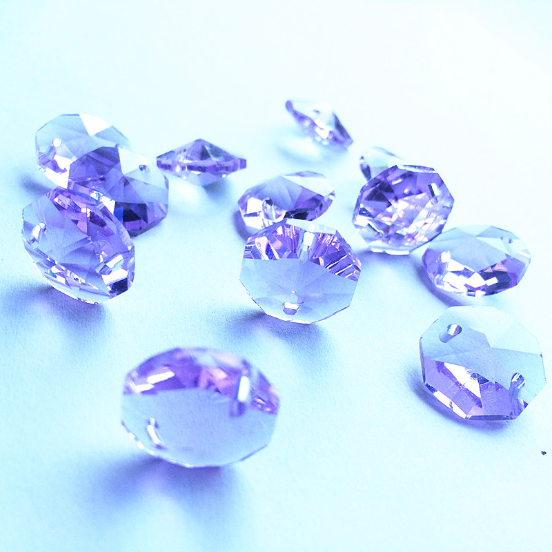 14mm Crystal Purple 1000pcs 2 holes crystal glass octagon beads crystal parts for chandeliers beads curtain