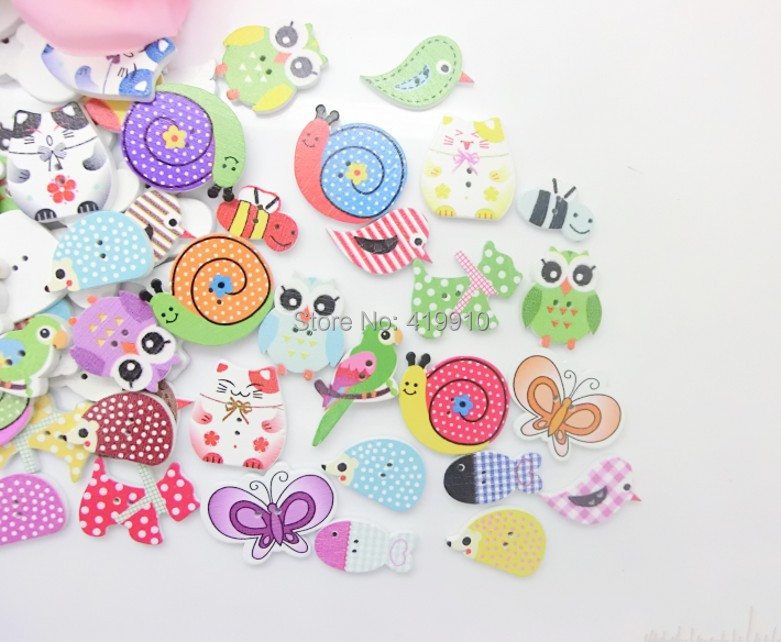 Free shipping -100pcs Mixed 2 Holes Animals Pattern Cartoons Wood Sewing Buttons Scrapbooking  D2619