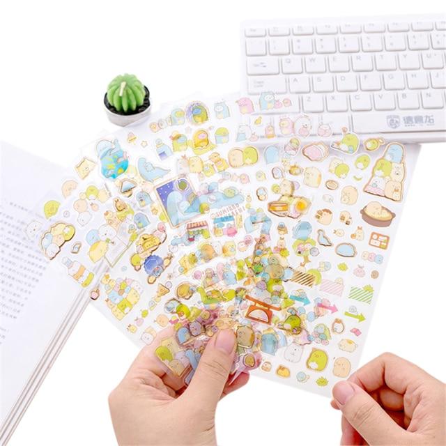 1pcs/lot Kawaii Corner Creature sticker Diary Label Hot stamping Stickers Planner Decoration Scrapbooking DIY Sticker Stationery