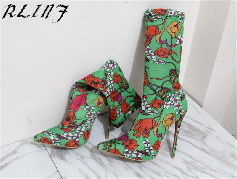 De Bottes Talon Vert Femmes Rlinf Pointu Haute Talons 33 Stretch Bout Stiletto Sexy Haut Pompes Floral 45 7qF8fgw