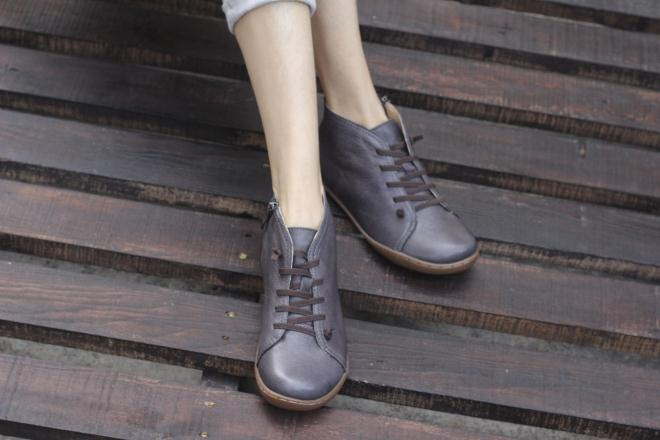 (35-46)Boots Women Shoes Hand-made Genuine Leather Ankle Boots for Women Square toe Zip Ladies Boots Female Footwear (K03) 4