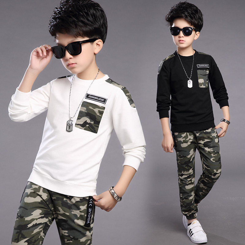 Boys Tracksuit Spring Children Clothing Sets Cotton T-Shirt + Camouflage Pants 2 Pcs Sport Suit Boy Clothes Set Costumes children s clothing 2017 spring camouflage set teenage boys clothes child spring
