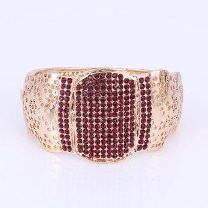 Image 5 - Nuevos conjuntos de joyería de moda de Color dorado para boda, Gargantilla de cristal rojo, pendientes, pulsera, anillo, conjunto de joyería nupcial