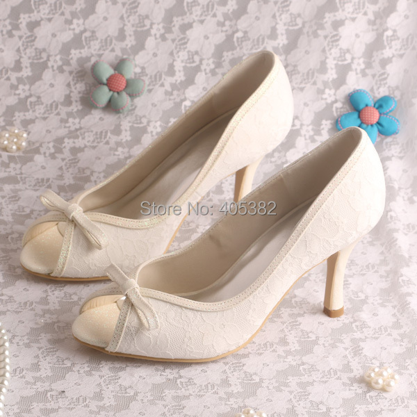 Wedopus High Heel Court Shoes Party Heels Wedding Peep Toes Off-white Lace Size 8 20 colors custom 2016 ladies silver crystal high heel bridal shoes peep toes size 10 free shipping