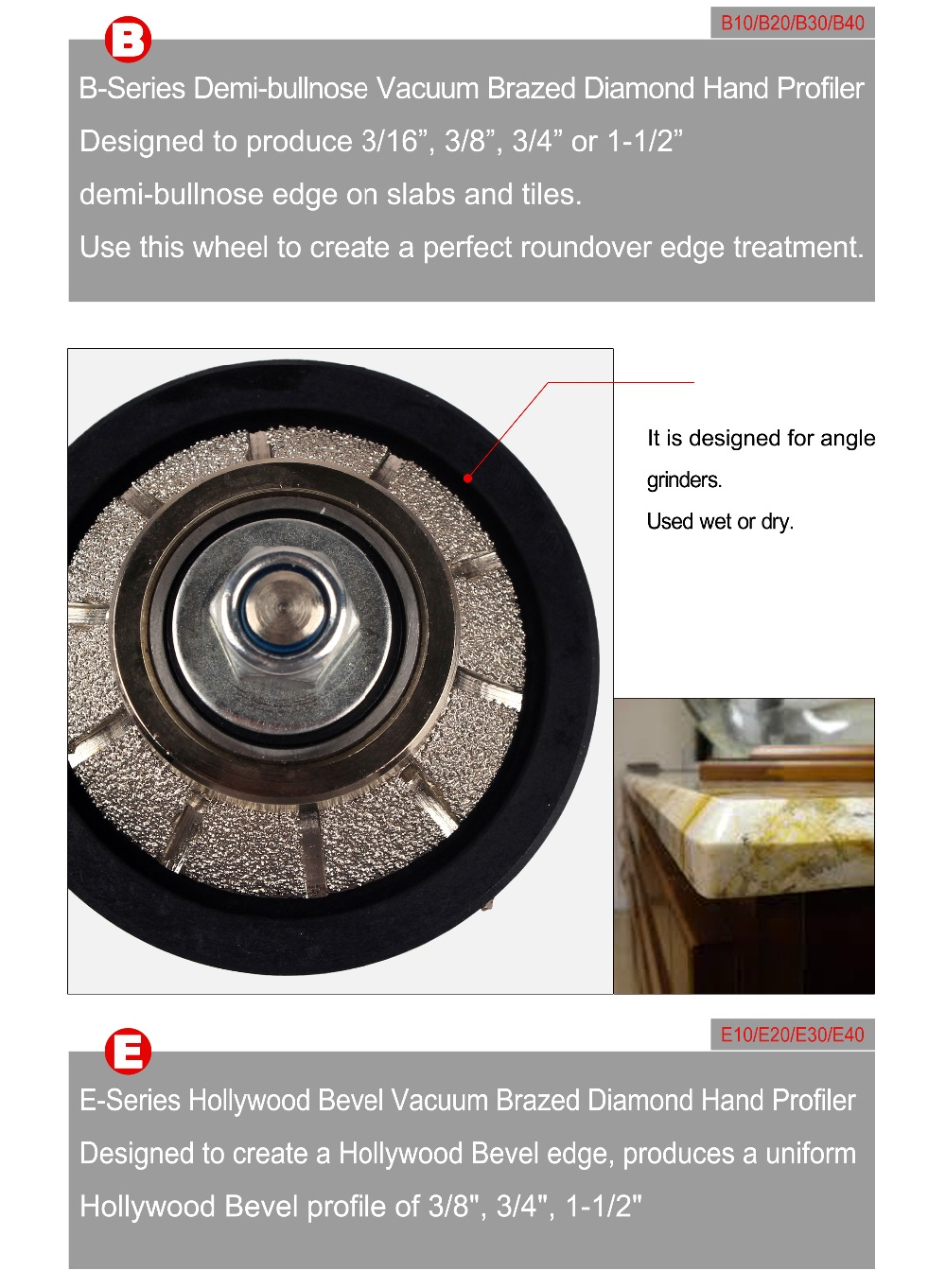 "Full Bullnose Vacuum Brazed Granite Diamond Profile Wheel Marble Hand Profiling Wheels 5/8""-11"