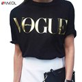 vancol VOGUE letter printed 2017 loose short sleeve o neck plus size women tops black casual white summer t shirt women XXXL