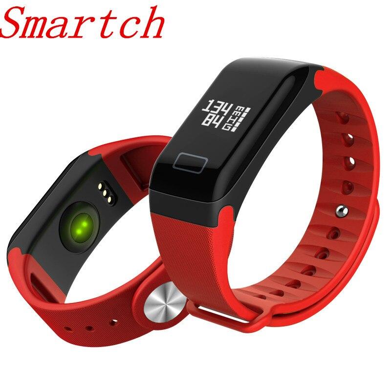Smartch D'origine F1 bande À Puce Bracelet Sport Montre Intelligente Bracelet Appel Rappel Étape Pulse Moniteur de Fréquence Cardiaque IP68 D'eau