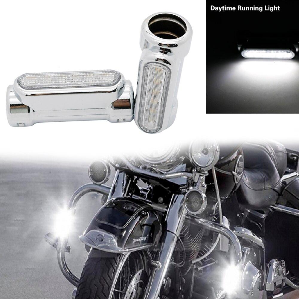 1 Paar Street Glide Led Engine Guard Lichten Wit Amber Kleur 1.25 Inch Snelweg Bar Swichback Drving Verlichting Voor Harley Davidson Aangenaam Voor Het Gehemelte