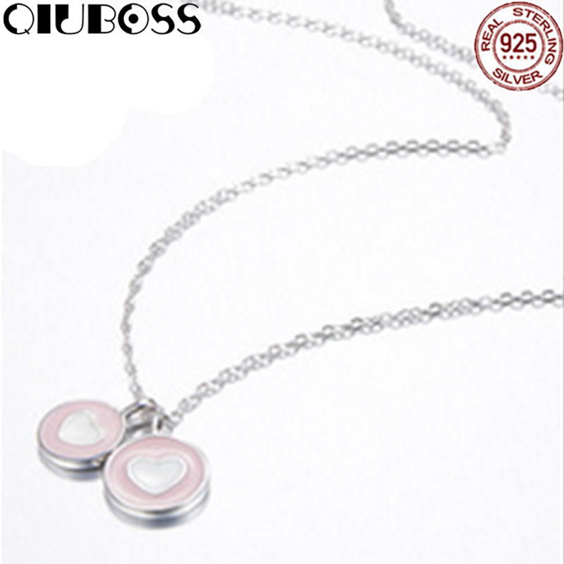 QIUBOSS TIFF 925 Sterling Silver Brand New 1:1 Genuine Heart Shaped Necklace Pink Love Fit Valentine's Necklace DIY Gift rolilason minimalist design 925 sterling silver pink heart shaped zircon pendant necklace party gift sp75