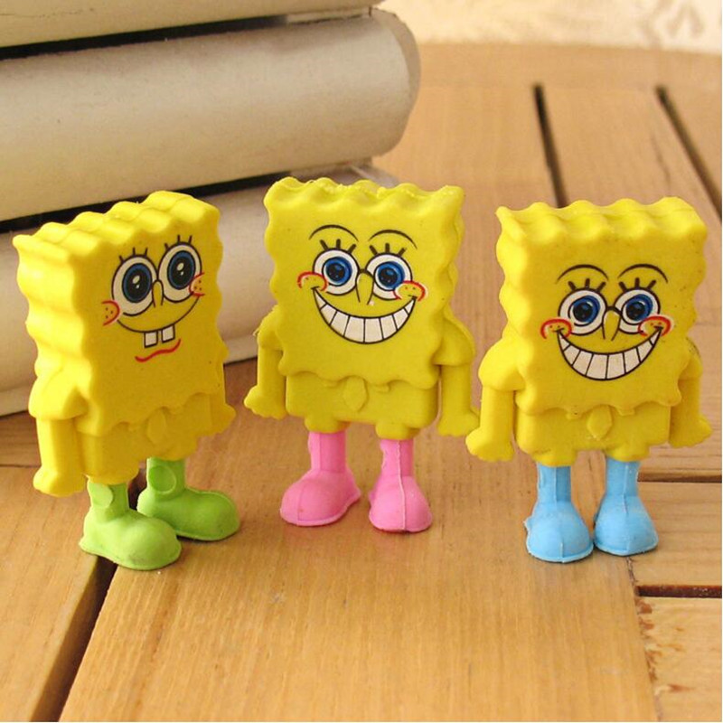 30pcs/lot Creative SpongeBob Eraser Lovely Cartoon Eraser  For Kids Funny Students' Gift Student Stationery