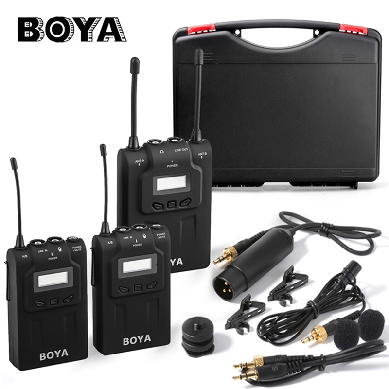 BOYA BY-WM8 UHF Wireless Lavalier Microfone Systerm Lavalier Interview Mic 2 Transmitters 1 Receiver for DSLR ENG/EFP Camera microphone capsule microfone profissional core fits for shure sm 58 type mic replace for the broken one