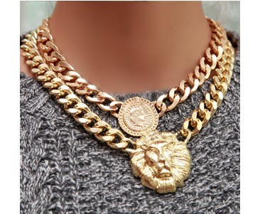 (Min order$10) 2014 Hot gold mental Europe queen lion head   Lion Metal Alloy statement  Necklace &pendant for women girls