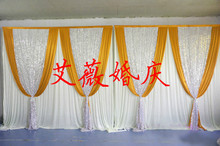 3m x 6m gold Silk Wedding Backdrop with silver sequin for Wedding Curtain Drape for sparking Wedding & Party Decoration