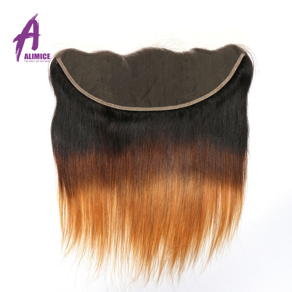 Ombre Peruvian Straight Lace Frontal 3 Tones T1B427 Human Hair Closure With Baby Hair T1B430 Non Remy 8-24inch Alimice  (2)
